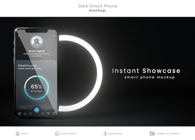Realistic phone mockup in dark room Premium Psd