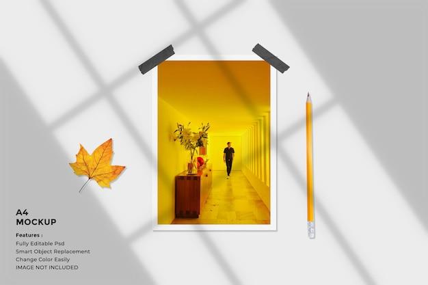 Realistic portrait paper frame photo mockup Premium Psd