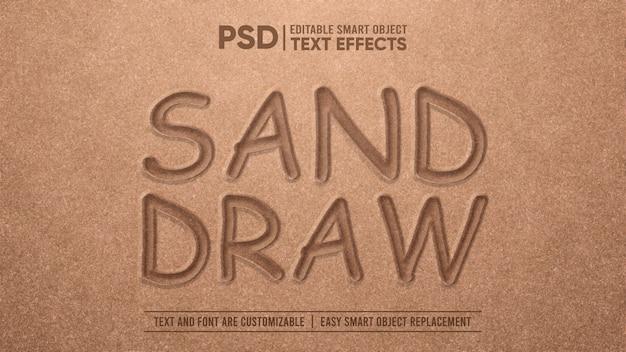 Realistic sand draw 3d editable text effect Premium Psd