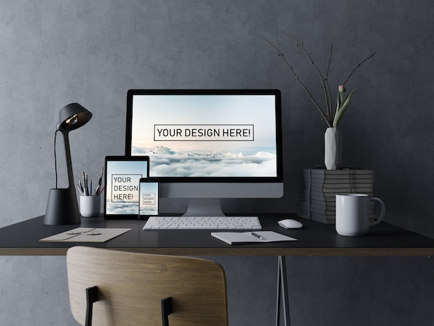 Realistic set pc desktop, tablet pad, and phone mockup design template with editable display in black minimal interior Premium Psd