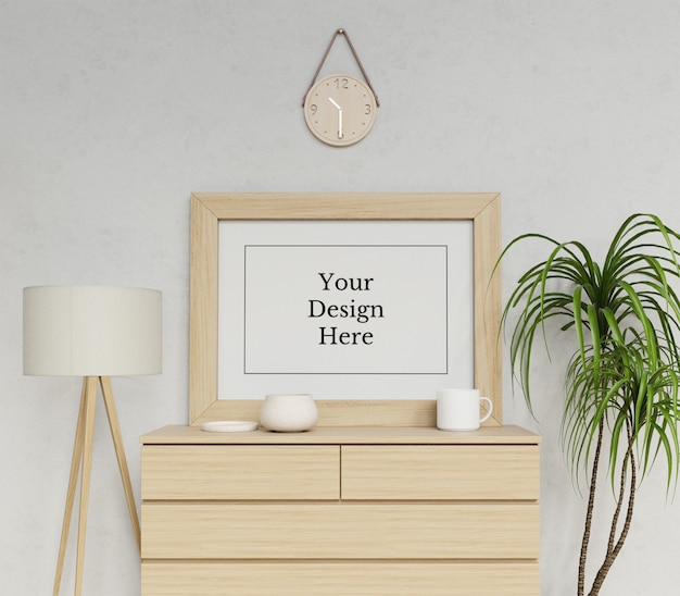 Realistic single a1 poster frame mock up template sitting landscape in interior scene Premium Psd