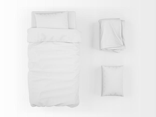 Реалистичная односпальная кровать, пуховое одеяло и макет подушки на вид сверху Бесплатные Psd