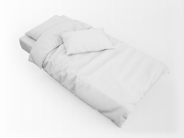 Реалистичная односпальная кровать, пуховое одеяло и макет подушки Бесплатные Psd