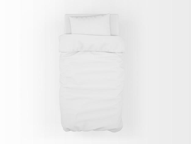 Реалистичный макет односпальной кровати на вид сверху Бесплатные Psd