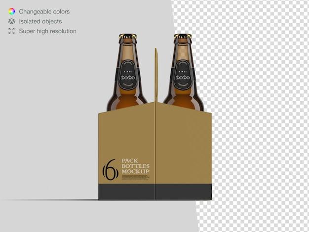 Реалистичный шаблон макета бутылки пива шесть пакетов Premium Psd