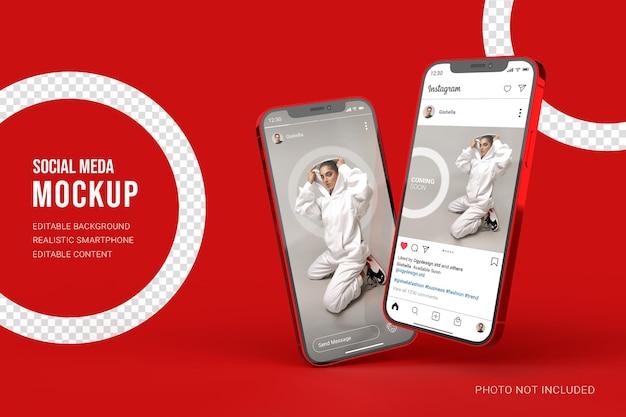 ソーシャルメディアのinstagramの投稿とストーリーのユーザーインターフェイスを備えたリアルなスマートフォンのモックアップ Premium Psd