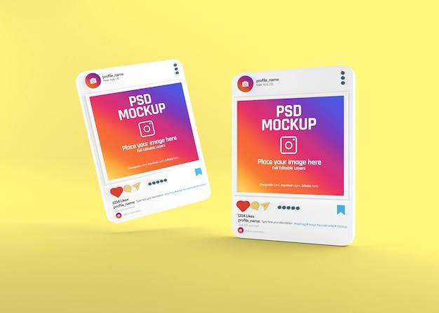 현실적인 소셜 미디어 Instagram 게시물 모형 프리미엄 PSD 파일