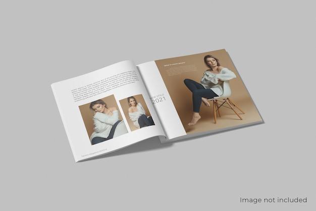 分離された現実的な正方形の雑誌のモックアップ Premium Psd