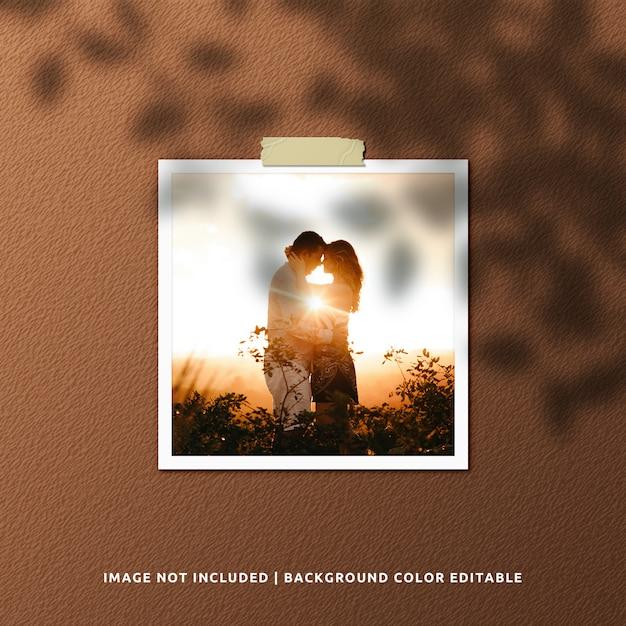 Realistic square paper frame photo mockup Premium Psd
