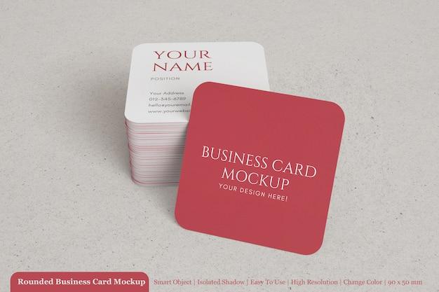 Реалистичная стопка скругленного квадратного макета визитной карточки с фактурной бумагой Premium Psd