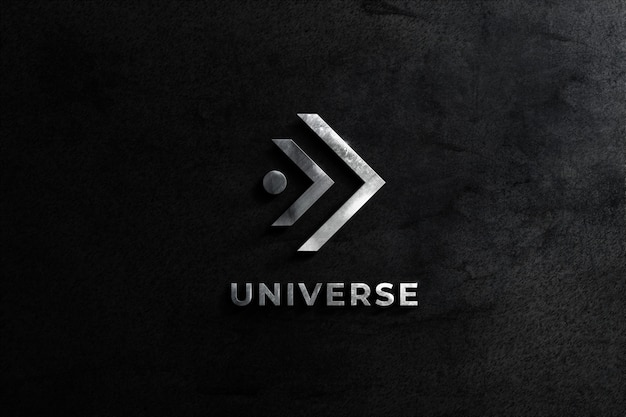 Realistic steel logo mockup wall with balck texture background Premium Psd