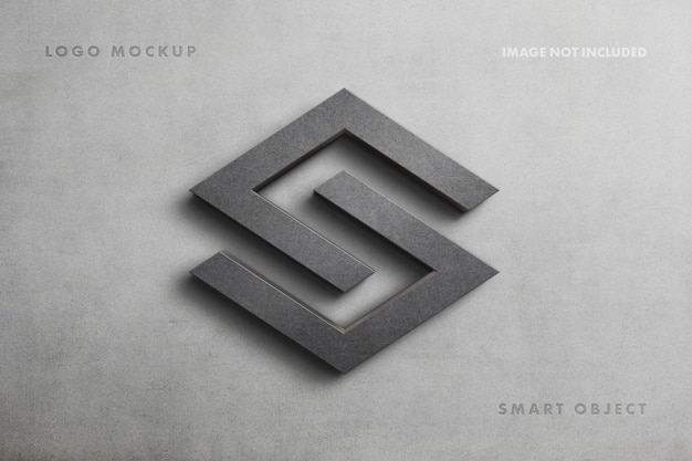 콘크리트 벽에 현실적인 돌 기호 로고 이랑 프리미엄 PSD 파일