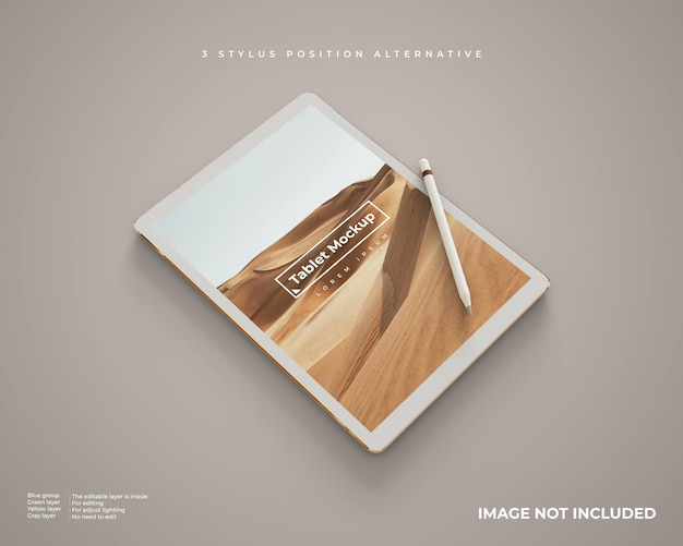 Realistic tablet mockup with stylus in vertical position looks left perspective view Free Psd