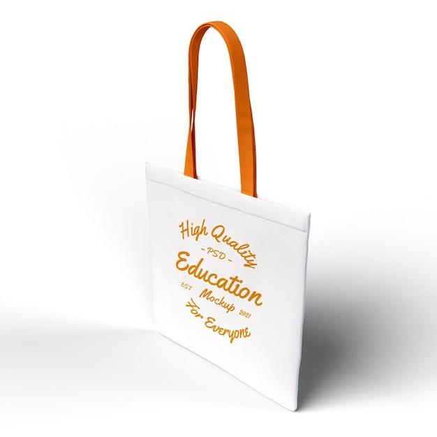 Realistic textured tote sling bag premium mockup top side view mockup Premium Psd
