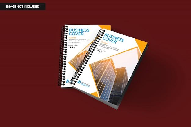 Realistic two spiral binder notebook mockup Premium Psd