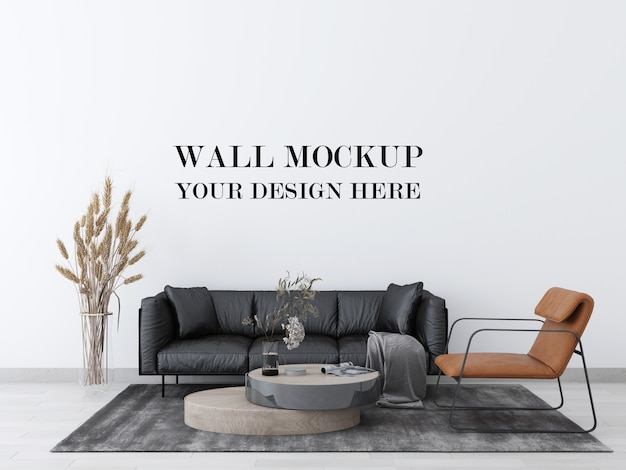 Realistic wall mockup of living room with modern leather furniture 3d render Premium Psd