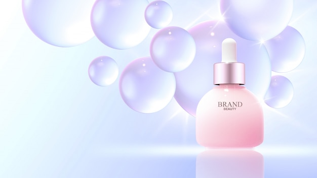 Realistic water bubbles with beauty product Premium Psd