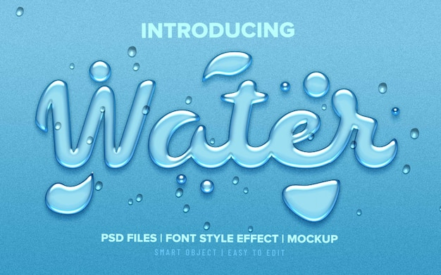 Realistic water drops font style text effect Premium Psd