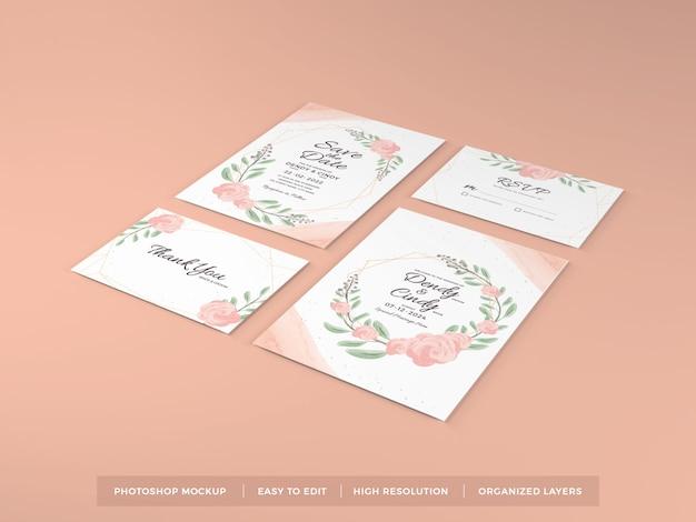 Шаблон макета реалистичные свадебные приглашения Premium Psd