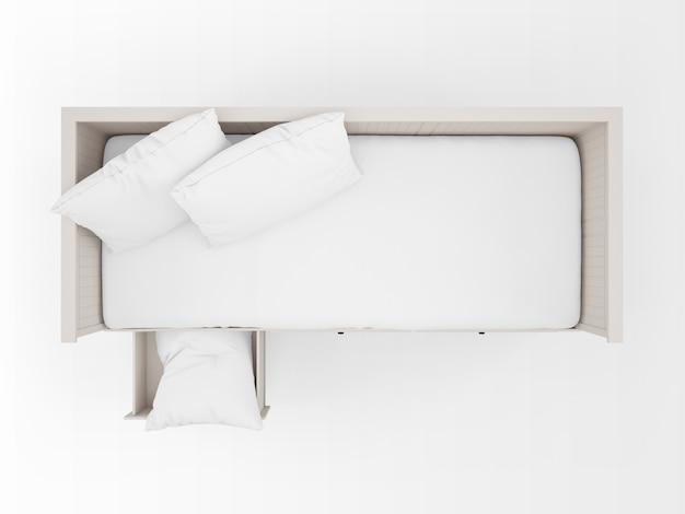 Реалистичная белая кровать с ящиками на вид сверху Бесплатные Psd