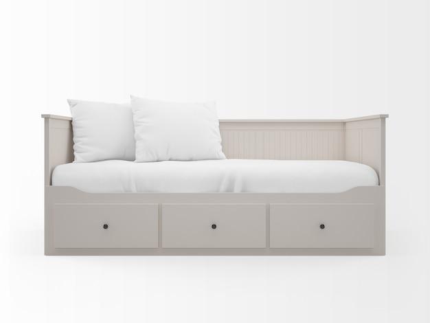 Реалистичная белая кровать с ящиками Бесплатные Psd
