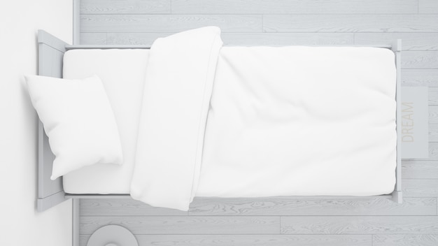 Realistic white bedroom on top view Free Psd