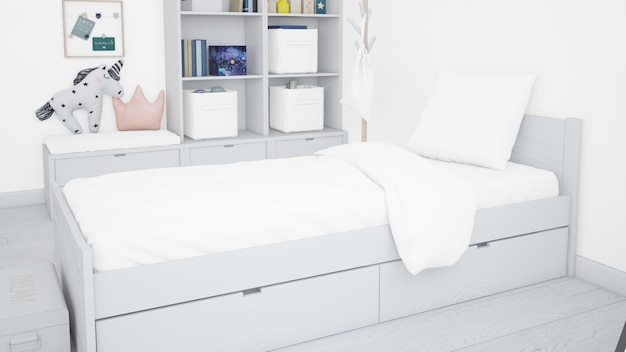 Realistic white bedroom Free Psd