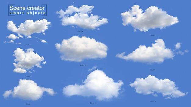 Реалистичный набор белых облаков Premium Psd
