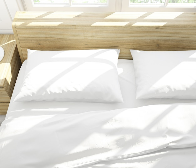 Реалистичные белые подушки на двуспальной кровати Бесплатные Psd