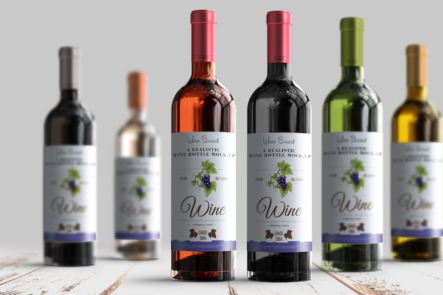 Realistic wine bottle label mock-up Premium Psd