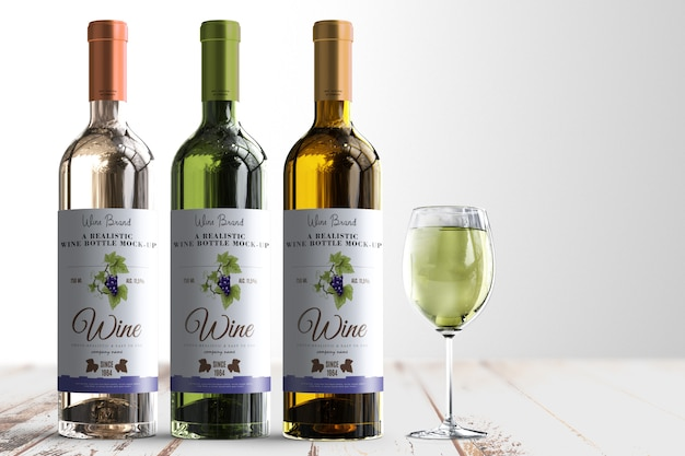 Realistic wine bottle label mock-up Premium Psd