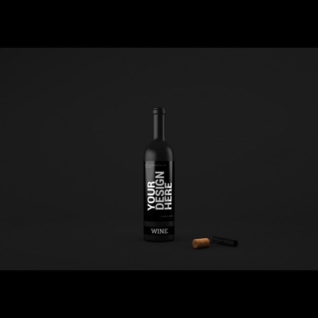 Realistic wine bottle presentation Free Psd