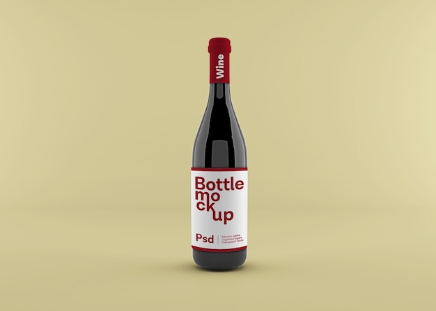 Реалистичная бутылка вина с макетом этикетки Premium Psd