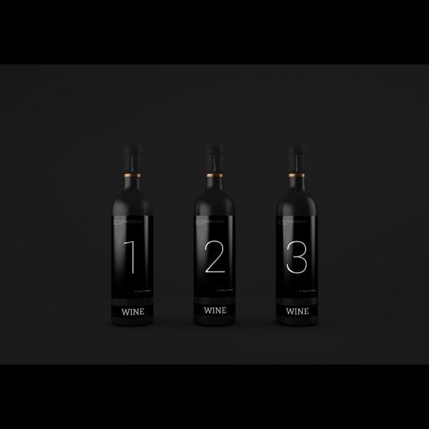 Realistico presentazione bottiglie di vino Psd Gratuite