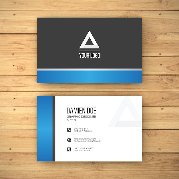 Realistic wood background business card mockup Free Psd