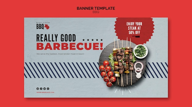Really good bbq banner template Free Psd