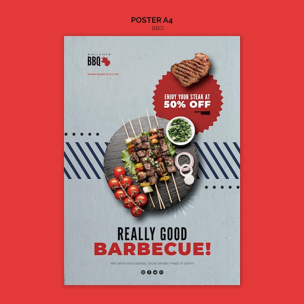 Really good bbq flyer template Free Psd
