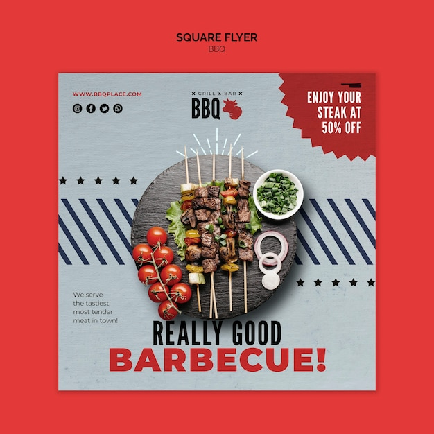 Really good bbq square flyer template Free Psd