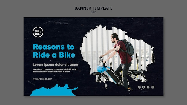 Reasons to ride a bike ad banner template Free Psd
