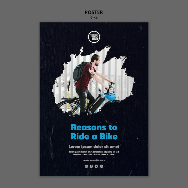 Reasons to ride a bike ad poster template Free Psd