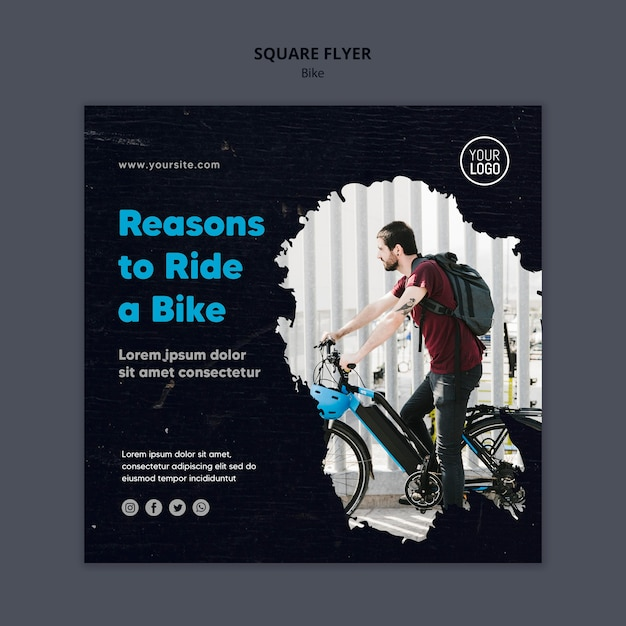 Reasons to ride a bike ad square flyer template Free Psd