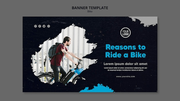 Reasons to ride a bike banner template Premium Psd