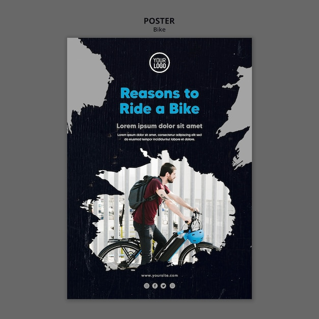 Reasons to ride a bike poster template Free Psd