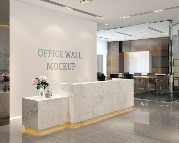 The reception space has a simple and modern style wall mockup Premium Psd