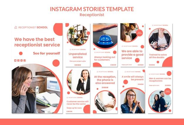 Modello di storie di instagram di concetto di receptionist Psd Gratuite
