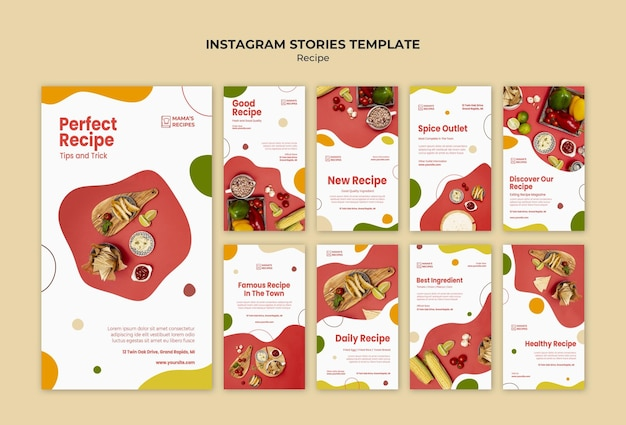 Recipes ad instagram stories template Free Psd