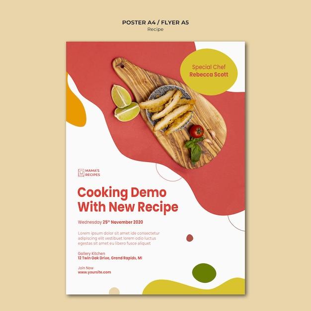Шаблон рекламного плаката рецептов Бесплатные Psd