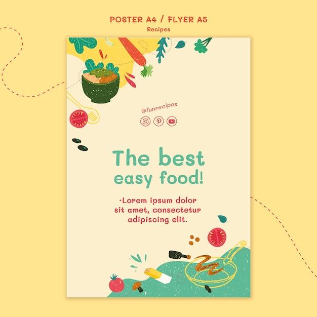 レシピのウェブサイトチラシテンプレート 無料 Psd