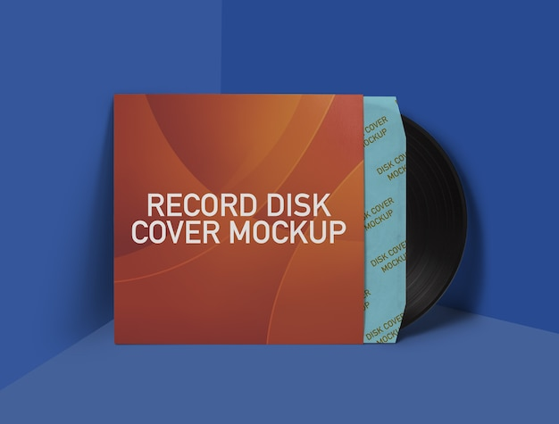 Record-disk-cover-mockup Premium Psd