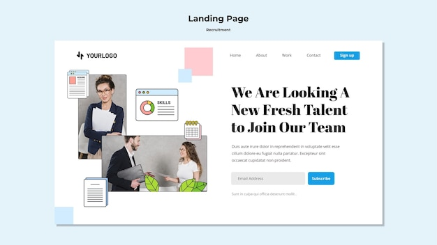 Recruitment concept landing page template Free Psd